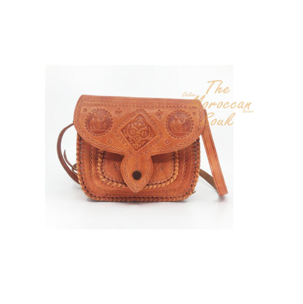 Golden Brown Handmade Tooled Moroccan Vintage Leather Shoulder/Crossbody Bag