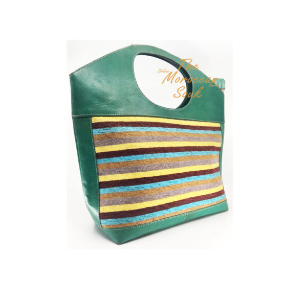 Green Leather Handbag with Striped Sabra Silk