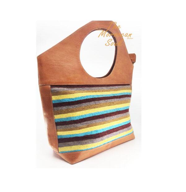 Brown leather Handbag Sabra silk